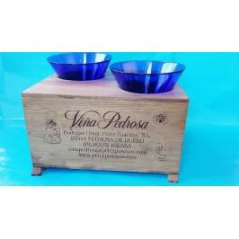 Unik Vandskål - to skåle i blåt glas -50% rabat