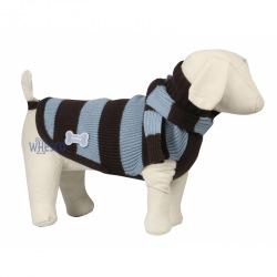 Stribet sweater m. halstørklæde Blå  -  TILBUD 30%